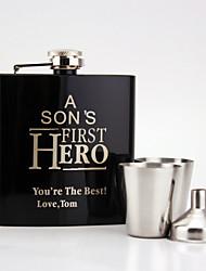 Cadeaux Pièce / Set Flasque Classique Félicitation Inox Personnalisé Flasque Noir Boîte à cadeau