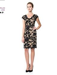 MILANLISA®Women's 2015 High-end Heavy Industry Embroidery Vest Skirt Dress New Women