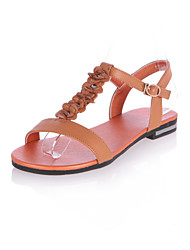 Women's Shoes Leather Flat Heel Comfort Sandals Office & Career/Dress/Casual Multi-color