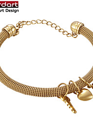 IP Gold 316L Stainless Steel Mesh Bangle with Heart & Key & Flower Charmings for Women