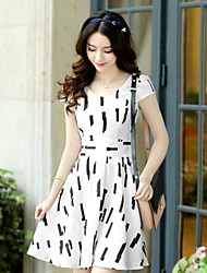 Women's Vintage/Casual/Cute/Work Round Short Sleeve Dresses (Chiffon)