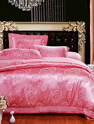 4-Piece The high-end Floral Jacquard Cotton Queen Duvet Cover Sets Valona Red Brick
