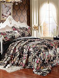 Floral in Black Silk Duvet Cover Set Queen King Size