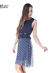 NUO WEI SI ®  Women's Sleeveless Slim Round Collar Polka Dots Dresses