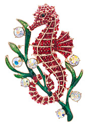 Women's Party Jewelry Rhinestone Animal sea horse Brooch Broach Pins (More Colors)