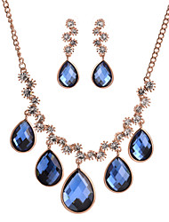 Women's High Quality Fashion Jewelry Sets Rose Gold Big Blue And Grey Crystal Necklace Drop Earrings Jewelry Sets
