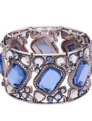 D Exceed Bangle Bracelets for Women Stretch Bracelet Zinc Alloy Silver Plate Acrylic Glass Gemstone Wide Bangles