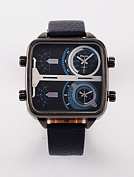 Oulm Men's Military Watch Dual Time Zones Quartz Leather Band Black Blue Red Brown