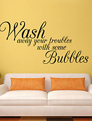 Wall Stickers Wall Decals Style Wash Away Your Troubles English Words & Quotes PVC Wall Stickers