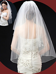 Véus de Noiva Duas Camadas Véu Cotovelo Borda com aplicação de Renda Borda Lápis Tule Marfim