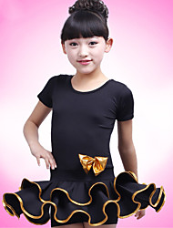 Latin Dance Performance Dresses Children's Fashion Short Sleeve Polyester Dress Black/Fuchsia Kids Dance Costumes