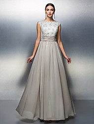 Sheath / Column Mother of the Bride Dress Floor-length Sleeveless Chiffon with Beading / Lace / Sash / Ribbon / Ruching