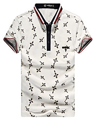Men's Short Sleeve Polo , Cotton Casual/Sport Print