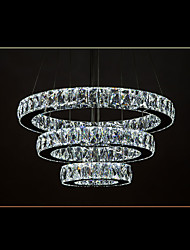LED Crystal Pendant Lights Modern Lighting Cool White Three Rings D406080 K9 Large Crystal Hotel Ceiling Light