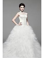 Princess Floor-length Wedding Dress -Halter Satin