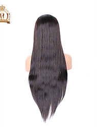 "10""-26"" Glueless Full Lace Wig Straight Brazilian Virgin Hair Color #2 Dark Brown Baby Hair for Black Women"