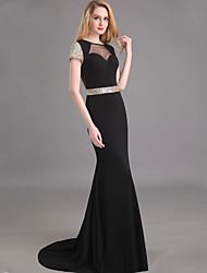 Dress Trumpet/Mermaid Jewel Sweep/Brush Train Chiffon Dress