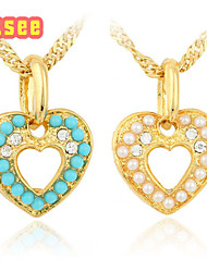 Fashion 18K Golden Plated Heart Shape with Pearl Pendant Jewelry