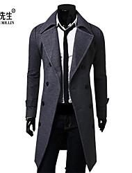 LINXIANSHENG® Men's Casual Pure Long Sleeve Long Trench coat (Tweed)