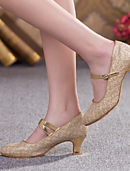 Women's Dance Shoes Heels Glitter Chunky Heel Gold/Silver/Brown