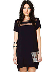 Women's Round Dresses , Chiffon Casual/Party Short Sleeve Free Cloud