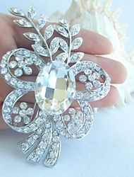 Bridal Accessories Wedding Deco Silver-tone Clear Rhinestone Crystal Bridal Brooch Bridal Bouquet Flower Wedding Brooch