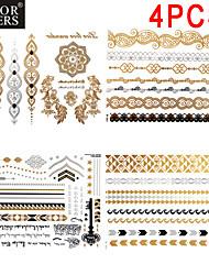 4 - Séries bijoux - Doré/Noir/Argenté - Motif - 23x15.5x0.5 - Tatouages Autocollants - color cheers -