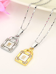 Vilam® Zinc Alloy Clover Lock Love Gold Silver Couple Necklaces (Random Silver Chain) 1 pair