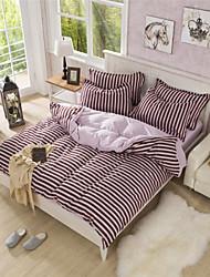 Coffee Stripe Duvet Cover Modern Design Cotton Blending