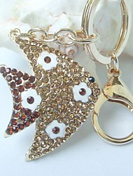 Pretty Flatfish Key Chain With Topaz Rhinestone Crystals