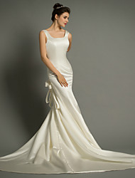 Trumpet/Mermaid Wedding Dress-Court Train Square Satin