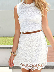 Women's Casual/Work Round Sleeveless Dresses (Lace)