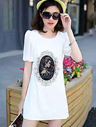 Women's Casual/Party/Work Round Short Sleeve Dresses (Cotton/Polyester)