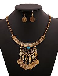 Women's Necklace Suit Fashion Vintage Coin Tassesl Pendant Necklace+Rings Hot All-Match Punk Style Necklace