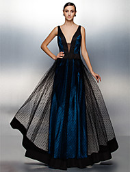 TS Couture Prom Formal Evening Dress - Beautiful Back A-line V-neck Floor Length Tulle with Sash / Ribbon