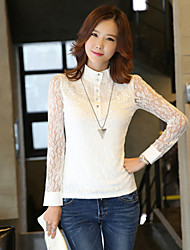 Women's Lace White Blouse , Turtleneck Long Sleeve Lace