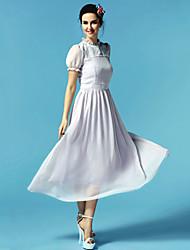De las mujeres Vestido Maxi - Plisado Escote Chino - Raso - Manga Corta