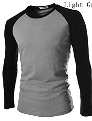 Men's Long Sleeve T-Shirt , Cotton/Cotton Blend Casual/Work/Sport/Plus Sizes Pure