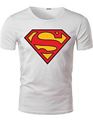 Herren T-shirt-Druck Freizeit Baumwolle / Polyester Kurz-Schwarz / Blau / Grün / Orange / Rot / Weiß / Gelb / Grau