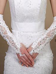Elbow Length Fingerless Glove Elastic Satin Bridal Gloves Spring / Summer / Fall / Winter Sequins