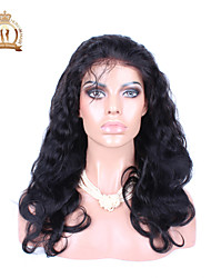 """10""""-26"""" Glueless Full Lace Wig Body Wave Malaysian Virgin Hair Color #1B Natural Black Baby Hair for Black Women"""