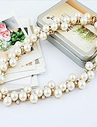 Feminino Gargantilhas Colar com Pérolas Pérola imitação de diamante Liga Moda Jóias de Luxo Dourado Prata Jóias ParaOcasião Especial