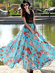 Verragee®2015 Summer New Long Chiffon Floral Skirts Put On A Large Mopping The Floor Long Skirt Beach Dress Bust