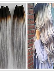Pelo 3pcs / lot brasileño virginal paquetes armadura del pelo recto del pelo humano plata canas brasileño teje