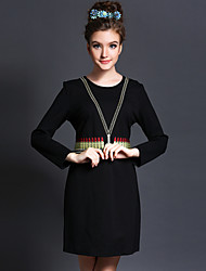 Large size women fall 2015 fashion personality waist long sleeved dress dress style office lady OL Women's CLOTHING