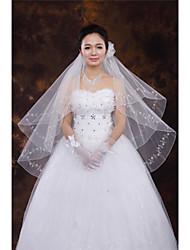 Wedding Veil Two-tier Fingertip Veils Beaded Edge