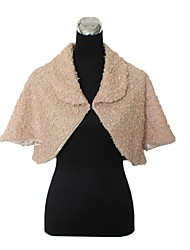Fur Wraps Coats/Evening Jackets/Stoles Sleeveless Faux Fur Burgundy/Champagne/Ink Blue Bolero Shrug