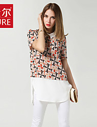 Damen Bluse  -  Blume Chiffon/Polyester Kurzarm Hemdkragen