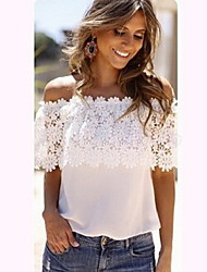 Women's Casual Off-the-shoulder Short Sleeve T-Shirts (Lace)