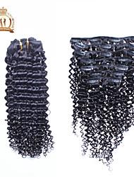 "10 ""-20"" inch 120g / Stuk clip in brazilian hair extensions kleur (# 1b) kinky krullend clip in extensions"